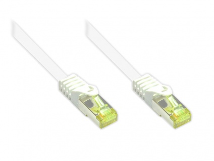 RJ45 Patchkabel mit Cat. 7 Rohkabel und Rastnasenschutz (RNS®), S/FTP, PiMF, halogenfrei, 500MHz, OFC, weiß, 10m, Good Connections®