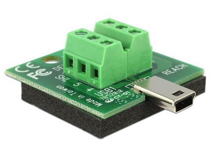 Adapter Terminalblock an Mini USB Stecker, Delock® [65638]