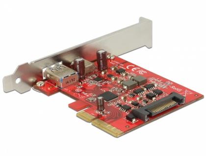 PCI Express x4 Karte an 1x extern USB-C™ Buchse + 1x extern USB 3.1 Gen.2 Typ-A Buchse , Delock® [89898]