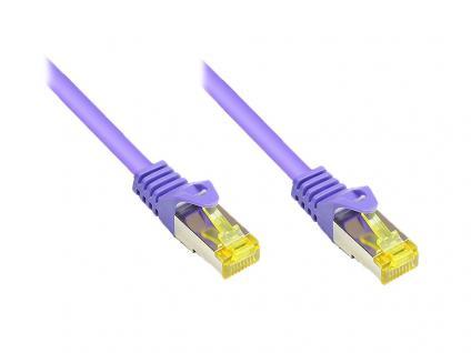 RJ45 Patchkabel mit Cat. 7 Rohkabel und Rastnasenschutz (RNS®), S/FTP, PiMF, halogenfrei, 500MHz, OFC, violett, 7, 5m, Good Connections®