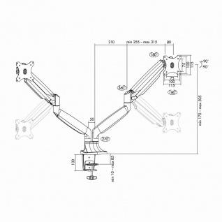 2-fach Aluminium Monitor-Schreibtischhalterung, neigbar -90____deg;/+90____deg;, schwenkbar -90____deg;/+90____deg;, drehbar -90____deg;/+90____deg;, 13'-32', LogiLink® [BP0043]