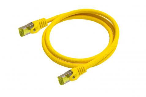 Python® Series RJ45 Patchkabel mit Cat. 7 Rohkabel, Rastnasenschutz (RNS®) und Nylongeflecht, S/FTP, PiMF, halogenfrei, 500MHz, OFC, gelb, 25m