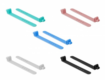 Silikon-Kabelbinder wiederverwendbar, 10 Stück, farbig sortiert, Delock® [18829]