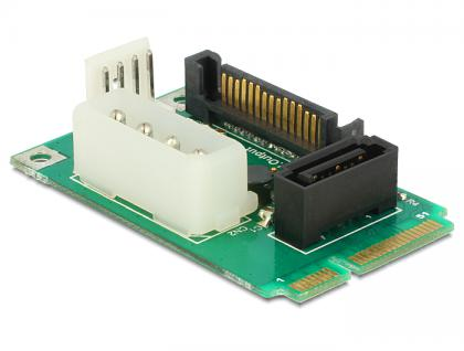 MiniPCIe Konverter mSATA full size an 1 x SATA 7 Pin Buchse + Stromversorgung, Delock® [95241]