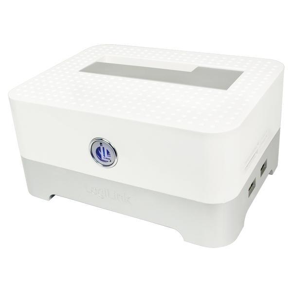 Quickport USB 2.0 für 2.5' & 3.5' SATA inkl. HUB & Cardreader, weiß, LogiLink® [QP0012]