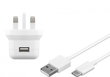 UK USB-Ladegerät, 1 Port, 2, 1A, inkl. Anschlusskabel USB-C-Stecker an USB A Stecker, weiß , 1m