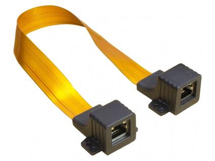 kabelmeister® Ethernet Fensterdurchführung High-Quality, transparent, Gesamtlänge inkl. Stecker 30cm, flexible Länge 23cm