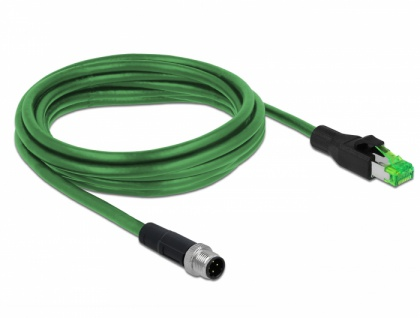 Netzwerkkabel M12 4 Pin D-kodiert an RJ45 Stecker PVC, grün, 3 m, Delock® [85439]