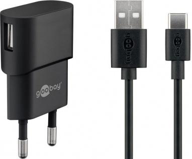 USB-Ladegerät, 1 Port, 1A, inkl. Type-C™ Kabel an USB A Stecker, schwarz, 1m