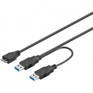 Anschlusskabel USB 3.0 Dual Power SuperSpeed, 2x Stecker A an Micro Stecker B, 0, 6m, Good Connections®