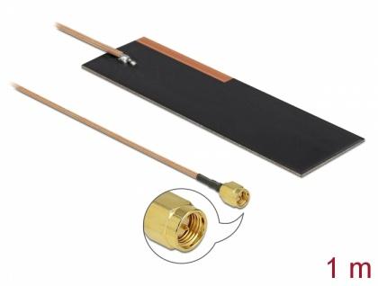 LPWAN Antenne SMA Stecker, 1-2dBi, RG-178, 1m, PCB intern, Klebemontage, Delock® [12620]