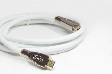 Anschlusskabel HDMI® 2.0 Kabel 4K2K / UHD 60Hz, 24K vergoldete Kontakte, OFC, Nylongeflecht weiß, 5m, PYTHON® Series