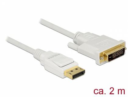 Kabel Displayport 1.2 Stecker an DVI 24+1 Stecker, passiv, weiß, 2 m, Delock® [83814]