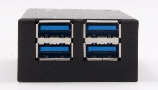 4-Port USB 3.0 Metall HUB (8x2, 5x4cm), inkl. USB 3.0 Kabel und EX-K1110 Strom Kabel, Exsys® [EX-1180HMS]
