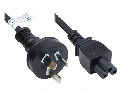 Netzkabel Australien Netz-Stecker Typ I (AS 3112) an C5 für Notebook, SAA/Tick Mark, schwarz, 0, 75 mm², 1, 8 m, Good Connections®