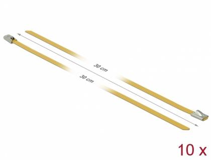 Edelstahlkabelbinder L 300 x B 4, 6 mm gelb 10 Stück, Delock® [18786]