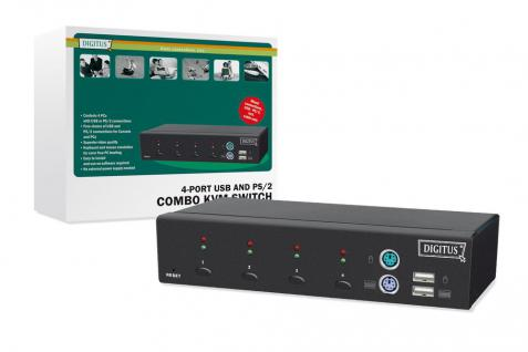 Combo-KVM Switch 1User, 4 PCs (je PS/2 od. USB), freie Verbindungswahl, Desktop, Hot-Swap Funktion, inkl. 2 Kabelsätze, 1, 8 m Digitus® [DC-12201-1]