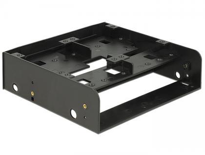 Einbaurahmen 5.25' für 1x 3.5' + 2x 2.5' oder 6x2x2.5' Festplatten, Kunststoff, schwarz, Delock® [18217]