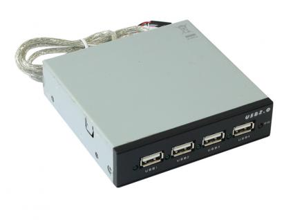 USB 2.0 Frontpanel-Hub 4-Port, für 3, 5' oder 5, 25' Schacht, Schwarz