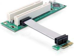 Schnittstellenkarte, Riser PCI Express x1 an 2x PCI 32Bit 5 V mit flexiblem Kabel, 9 cm links gerichtet, Delock® [41341]