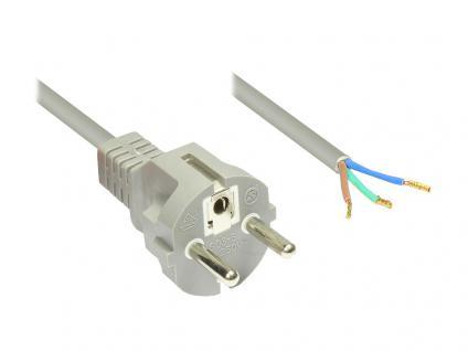 Netzkabel Schutzkontakt-Stecker gerade mit abisolierten Enden, grau, 1, 5m, Good Connections®