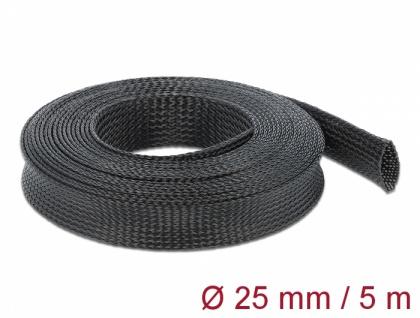 Geflechtschlauch dehnbar 5 m x 25 mm schwarz, Delock® [18851]