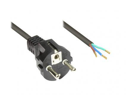 kabelmeister® Netzkabel Schutzkontaktstecker gerade mit abisolierten Enden, schwarz, 1, 5m