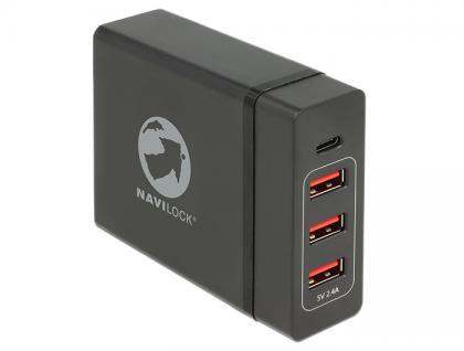 USB Ladegerät 1x USB Type-C PD + 3x USB Typ-A, schwarz, Navilock® [62950]