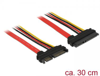 Verlängerungskabel SATA 6Gb/s, 22 Pin Stecker an SATA 22 Pin Buchse (5V + 12V), 0, 3m, Delock® [83803]