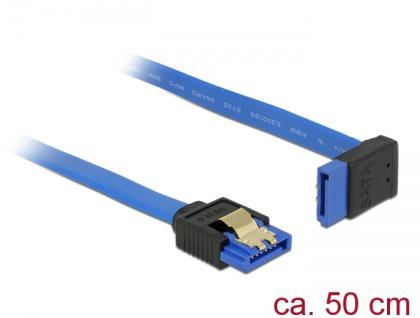Kabel SATA 6 Gb/s Buchse gerade an SATA Buchse oben gewinkelt, mit Goldclips, blau, 0, 5m, Delock® [84997]