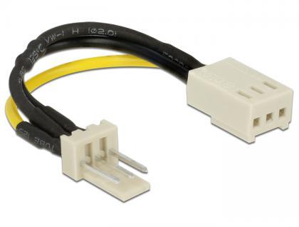 Stromkabel 3 Pin Stecker an 3 Pin Buchse (Lüfter) 8 cm - Drehzahlreduzierung, Delock® [83656]