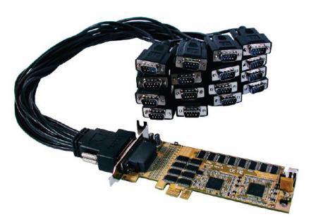 Schnittstellenkarte, LowProfile PCI-Express 16S Seriell RS-232 Karte mit 2 x Octopus-Kabel mit 8 x 9 Pin Stecker, Oxford Chip-Set, Exsys® [EX-44016-L] - Vorschau