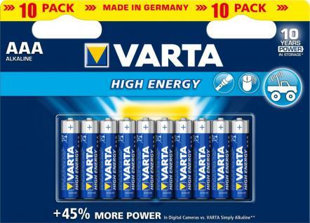 Varta® Batterie, High Energy (Alkaline), LR03 (AAA), 1, 5V, 10er Pack in Blister
