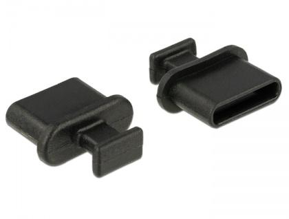 Staubschutz für USB Type-C Buchse, mit Griff, 10 Stück, schwarz, Delock® [64013]