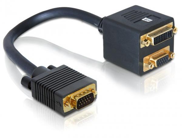 Adapter VGA Stecker zu VGA + DVI 29 Buchse, Delock® [65068]