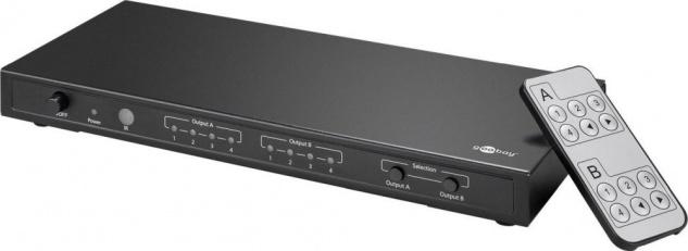 HDMI™ Matrix 2x4 (2x Eingang, 4x Ausgang), UHD 4K2K, vergoldete Kontakte, Umschaltautomatik, geschirmtes Metallgehäuse, inkl. Netzteil+Fernbedienung