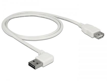 Verlängerungskabel EASY-USB 2.0 Typ-A Stecker gewinkelt links / rechts an USB 2.0 Typ-A Buchse, weiß, 1 m, Delock® [85179]