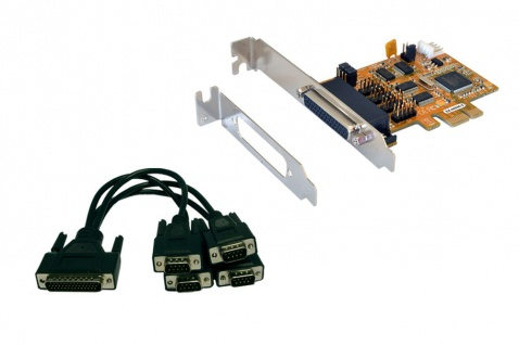 4S Seriell RS232 PCIe Karte mit Octopus Kabel (MosChip Chip-Set), Exsys® [EX-44044-2]