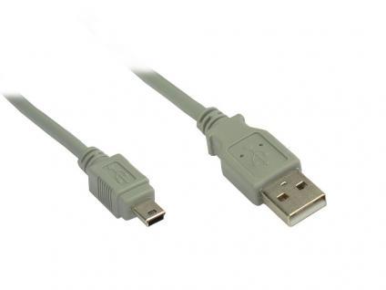 Anschlusskabel, USB 2.0, Stecker A zu Stecker Mini B 5-pin, grau, 3m, Good Connections®