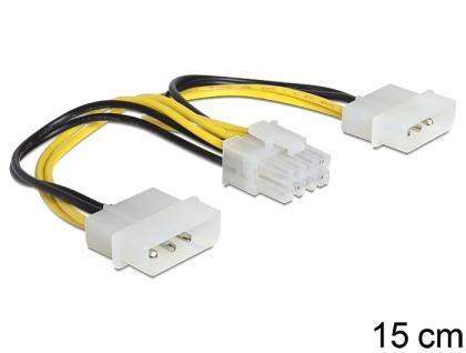 Kabel zur Stromversorgung 8 Pin EPS an 2 x 4 Pin Molex, 0, 15m, Delock® [83410]