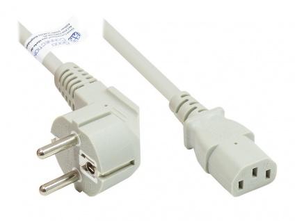 Netzkabel Schutzkontakt-Stecker Typ E+F (CEE 7/7, gewinkelt) an C13 (gerade), grau, 0, 75 mm², 0, 5 m, Good Connections®