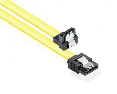 Anschlusskabel SATA 6 Gb/s mit Metallclip, einseitig gewinkelt, gelb, 0, 7m, Good Connections®