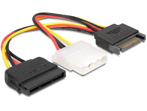Adapter Power SATA 15pin an 4pin + SATA 15pin, Delock® [65235]