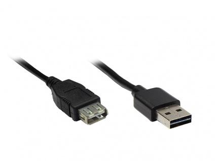 Verlängerungskabel USB 2.0 EASY Stecker A an Buchse A, schwarz, 1m, Good Connections®
