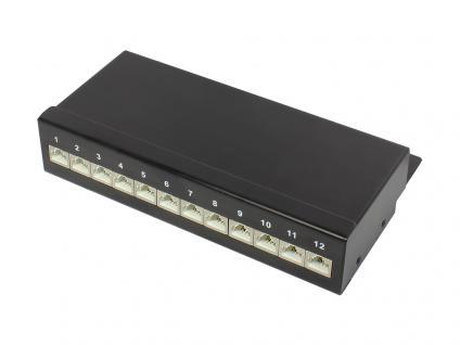 Patch Panel Desktop Cat. 6A, geschirmt, STP, 12-Port, tiefschwarz RAL9005, Good Connections®