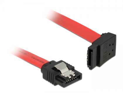 Anschlusskabel SATA 6 Gb/s Stecker gerade an SATA Stecker oben gewinkelt Metall, rot, 0, 2m, Delock® [83972]