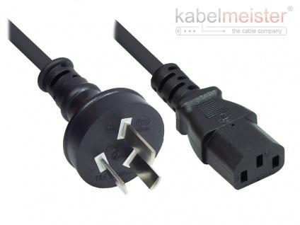 kabelmeister® Netzkabel China Netz-Stecker Typ I (gerade) an C13 (gerade), CCC, schwarz, 0, 75 mm², 1, 8 m