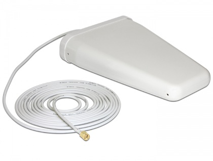 LTE Band 20/1/3/7 Antenne SMA Stecker 8 ~ 9 dBi 5 m RG-58 direktional weiß outdoor, Delock® [89474]