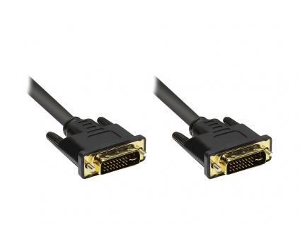 Anschlusskabel DVI-I 24+5 Stecker an Stecker, vergoldete Stecker, schwarz, 5m, Good Connections®