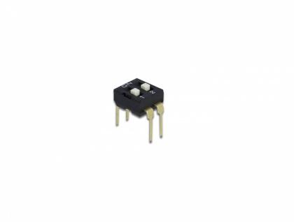 DIP-Schiebeschalter 2-stellig 2, 54 mm Rastermaß THT vertikal schwarz 2 Stück, Delock® [66104]